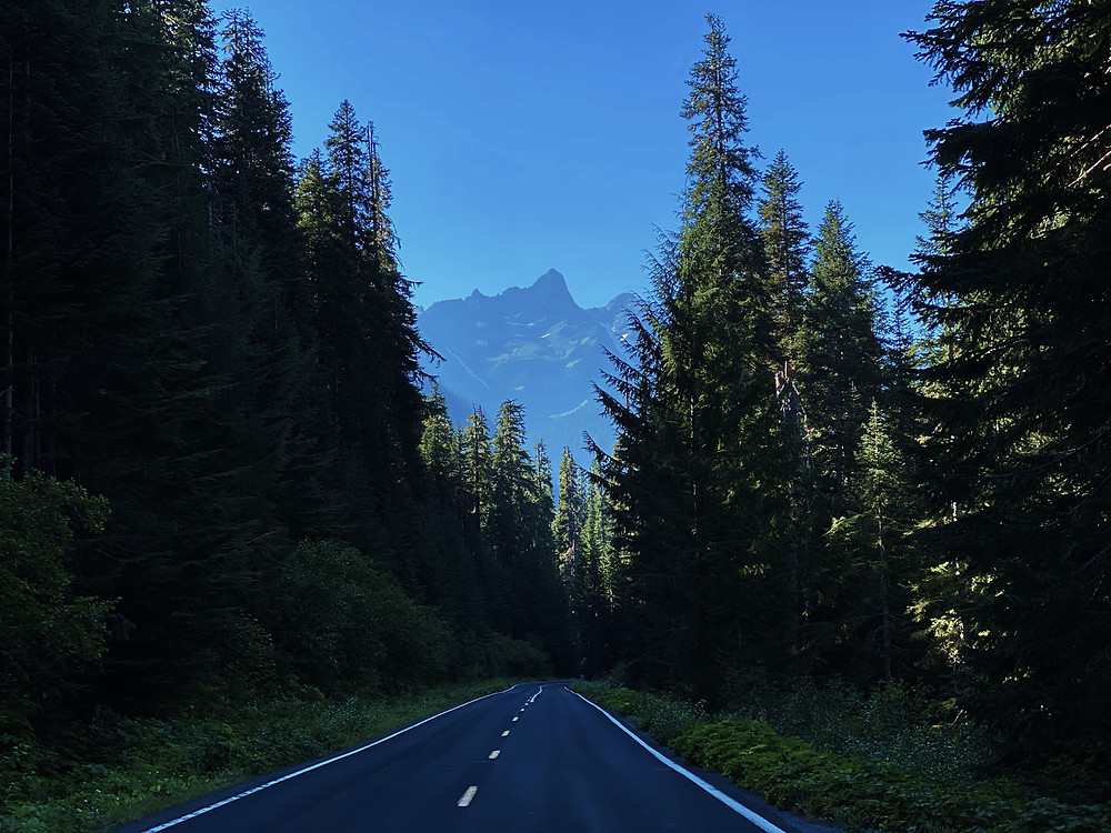 a two lane road stretches out between lush evergreen trees, as Unicorn Peak looms off in the distance