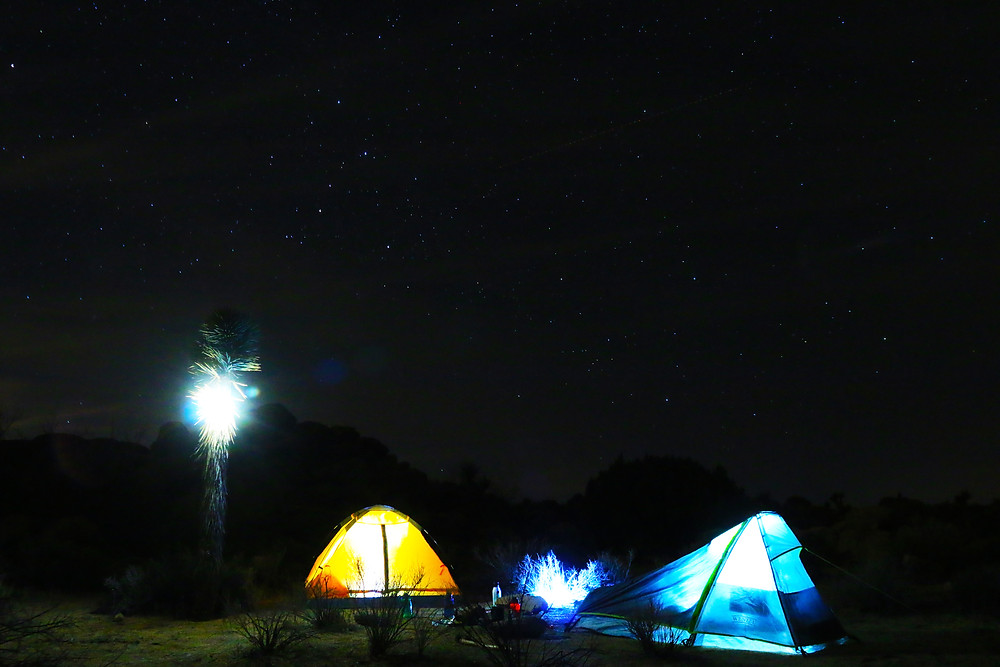 brightly illuminated orange and blue tents set up under the pitch black darkness of the night sky overhead. Photo Credit Scott Carnahan