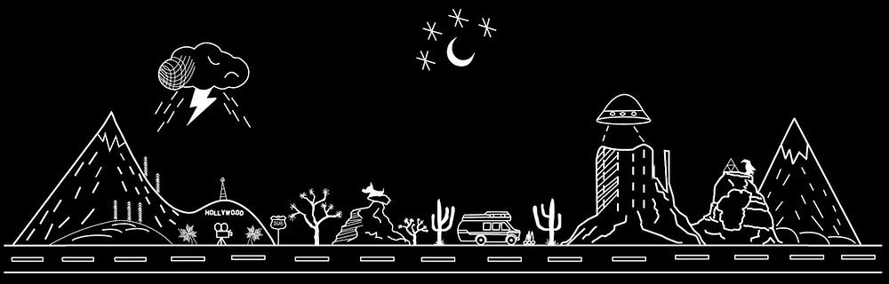 Scott's tattoo commemorating his van life experience, black and white drawing of a range of icons representing Los Angeles, storms, the open road, the desert, the night sky, the camper van, and maybe some aliens