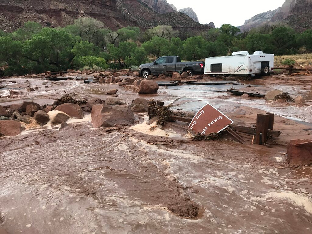 Flash floods have washed out thousands of pounds of mud, entire parking lots, and even park signage at Zion National Park in Utah