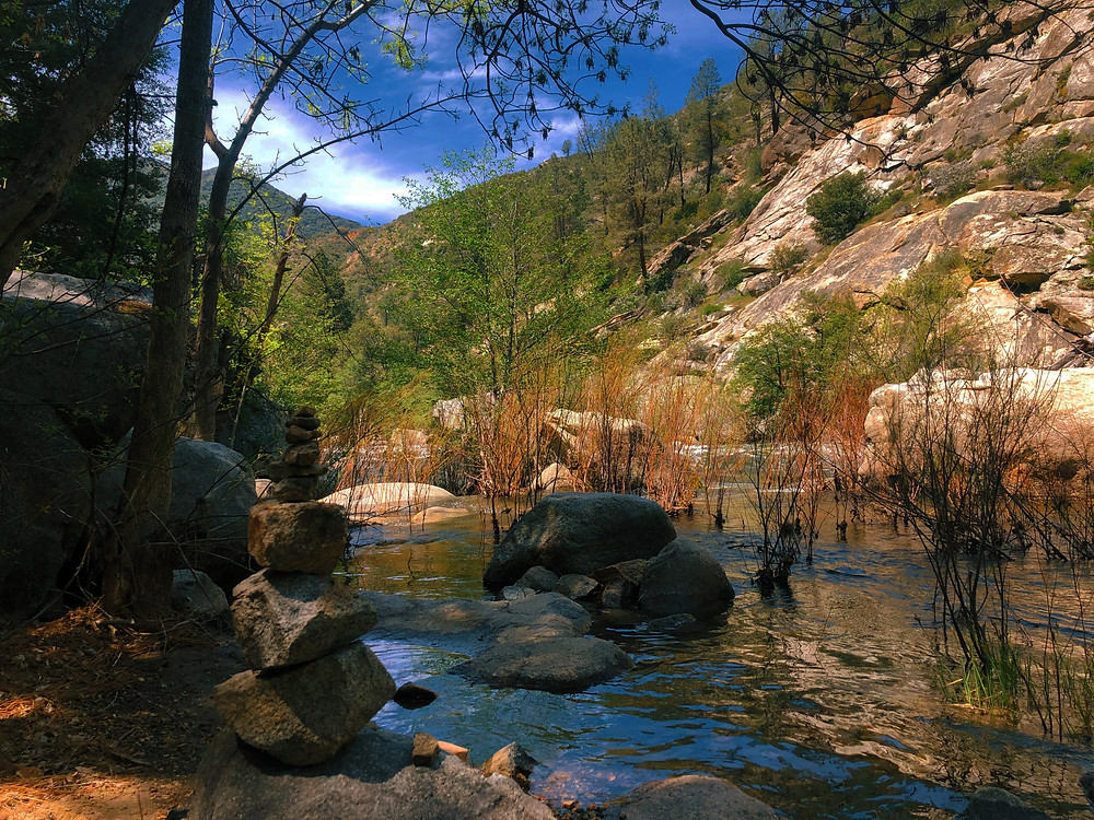 The Kern River flows through a canyon, brown rocks and red vegetation pop up by the banks of the river, as evergreen trees cover the hillsides of the canyon under clear blue skies with few clouds