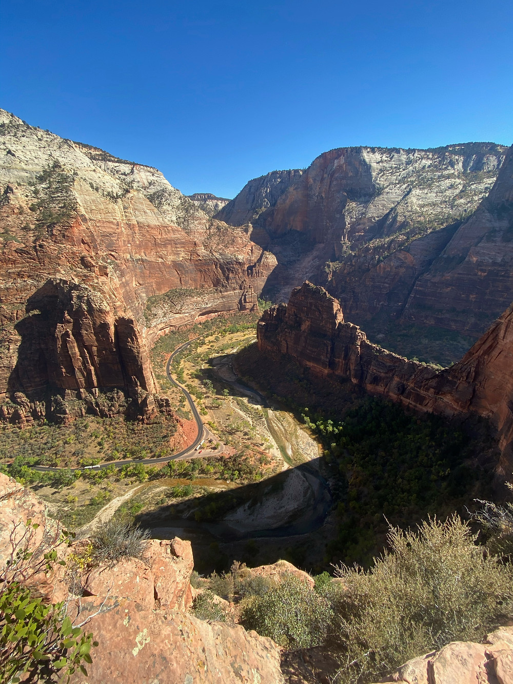Striated red rocks stretch for miles in Zion National Park in Utah