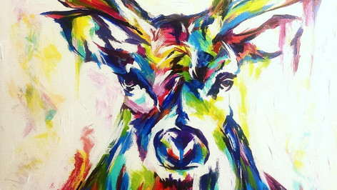 New Commission Fresh Off The Easel - A Spontaneous Realism of a Wild Buck.