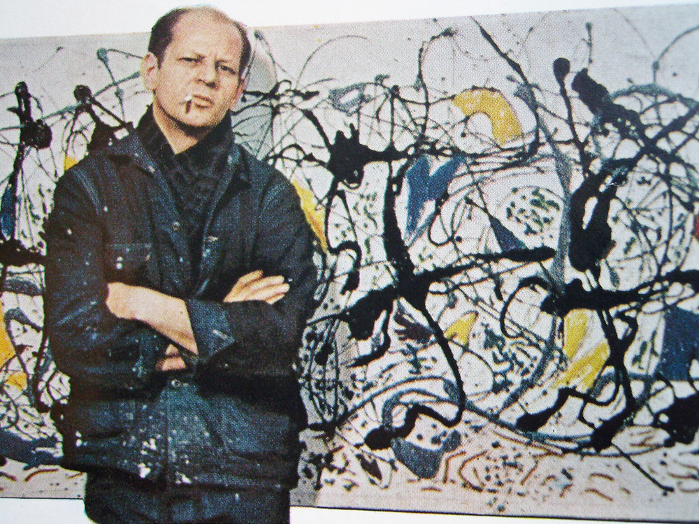 Jackson Pollock Stand in Front of one of His Paintings