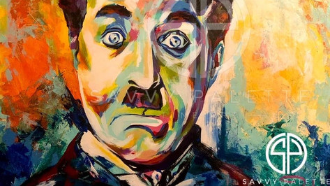 Fresh Off The Easel - Spontaneous Realism Portrait of Charlie Chaplin as the Tramp.