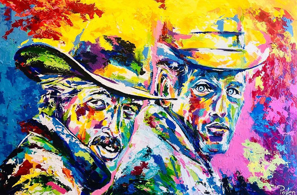 """Double portrait piece. Robert Redford, and Paul Newman by Oklahoma artist, Matthew R. Paden for his ongoing series, """"Famous Faces."""""""