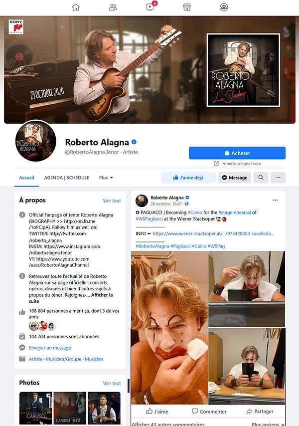 Page FACEBOOK RobertoAlagnaTenor Officia