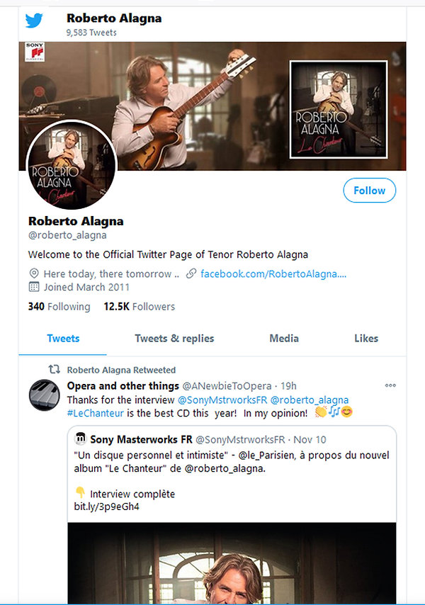 Page TWITTER RobertoAlagnaTenor Official