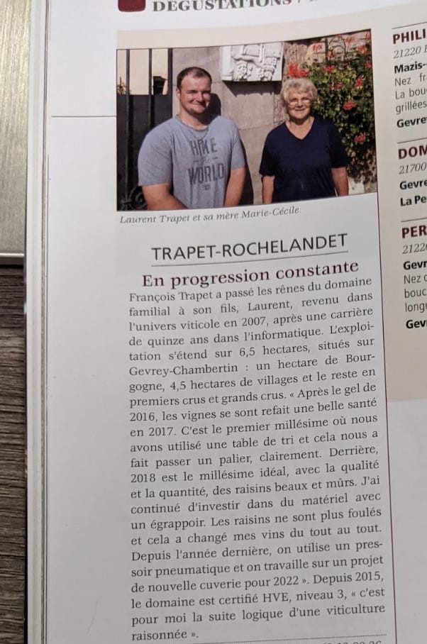 Recensione produttore borgogna vino gevrey chambertin bourgogne aujourd'hui trapet rochelandet