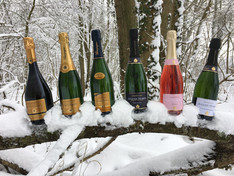 Champagne Huiban - Bottiglie sulla neve