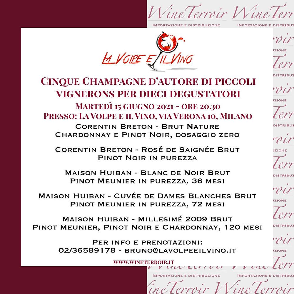 Degustazione Champagne Cinque Champagne di piccoli Vignerons a Milano