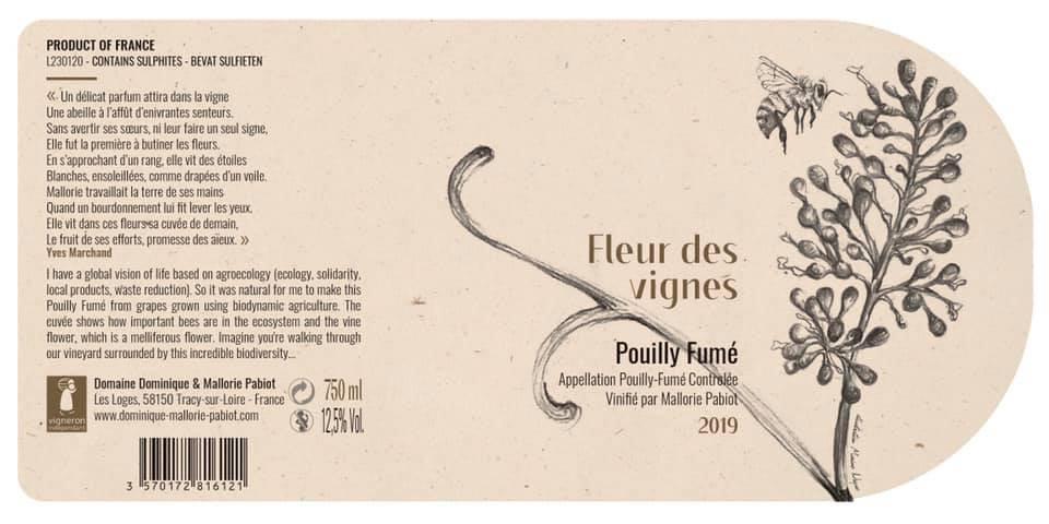 Etichetta vino importazione sauvignon blanc pouilly fumé fleur des vignes 2019 dominique mallorie pabiot