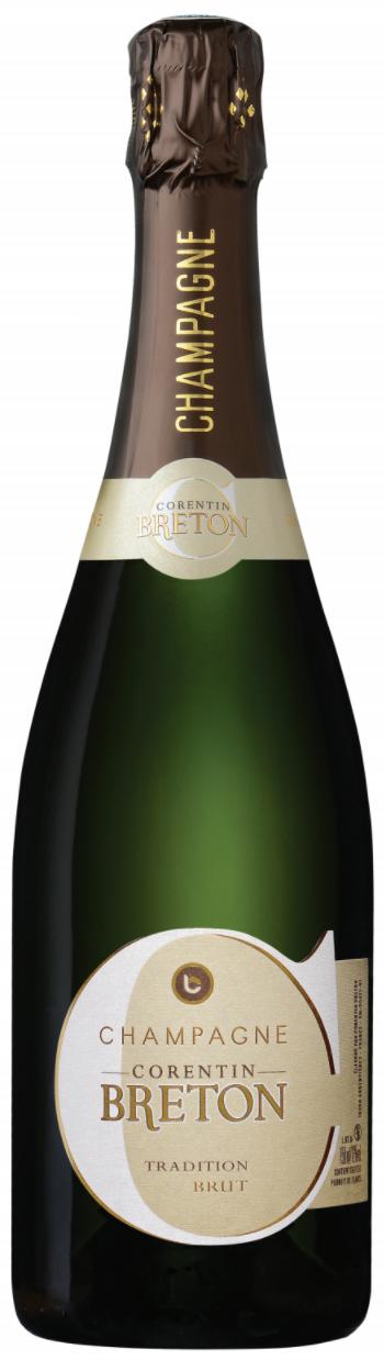 Bottiglia di Champagne Corentin Breton Brut Tradition importazione distribuzione