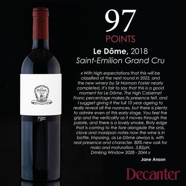 Bordeaux votazione Decanter vino Le Dome