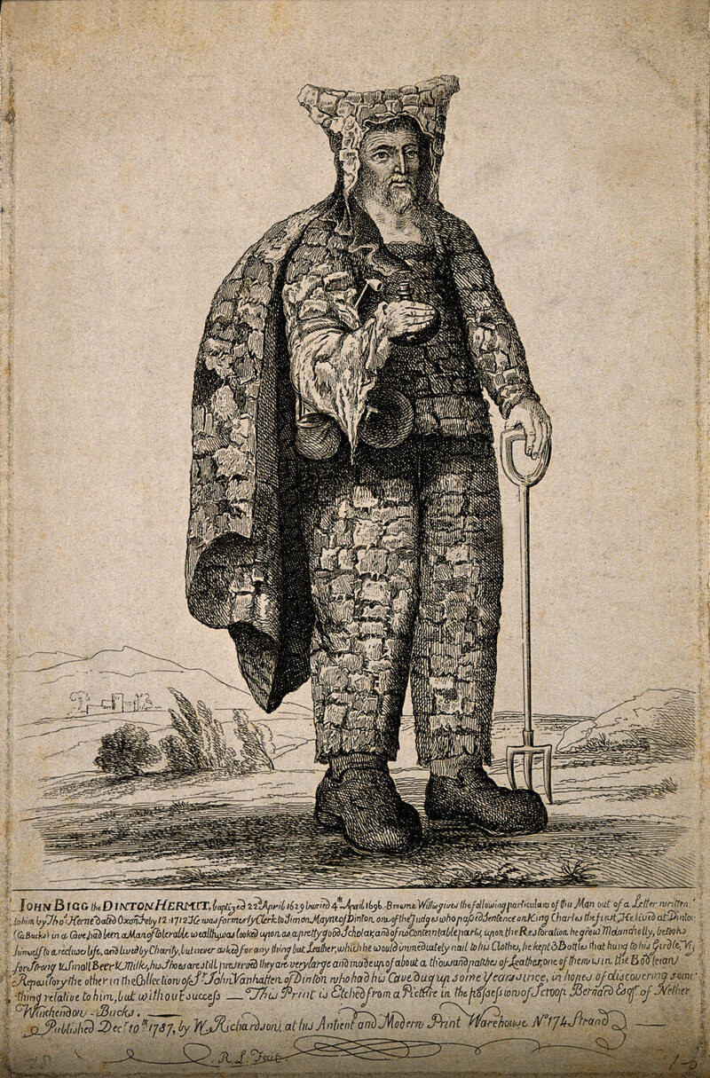 black and white illustration of a hermit