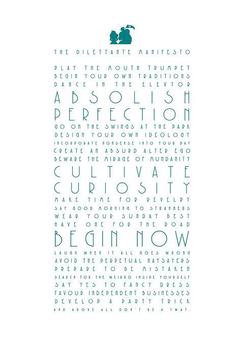 The Dilettante Manifesto A3 Art Print
