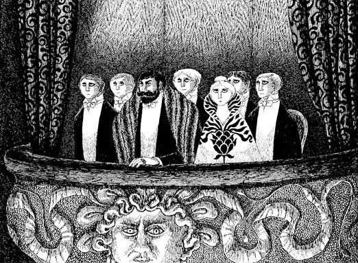Black and white Edward Gorey illustration of Victorian era people in a balcony at the opera