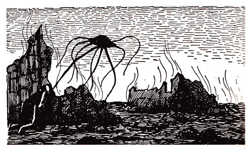 Black and white Edward Gorey illustration from War of the Worlds, 1960