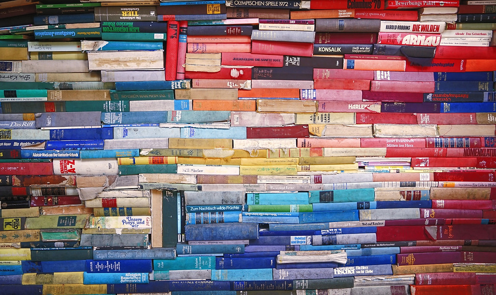 A wall of colourful books