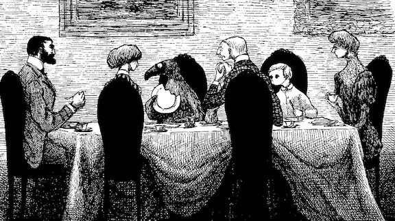 Black and white Edward Gorey illustration of Illustration of group of Victorian people around a dinner table from The Doubtful Guest