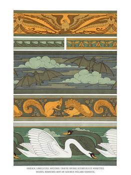 Oiseaux. Libellules. Mouches. Chauve souris. Écureuils et noisettes. Cygnes, (1897) by Mau