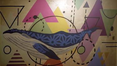 Geometric Whale Mural