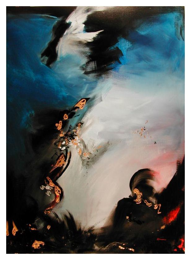 COMBAT DE TITANS   130 x 97   cm