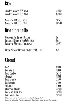 Carte boissons le canclaux, restaurant bistrot place canclaux nantes