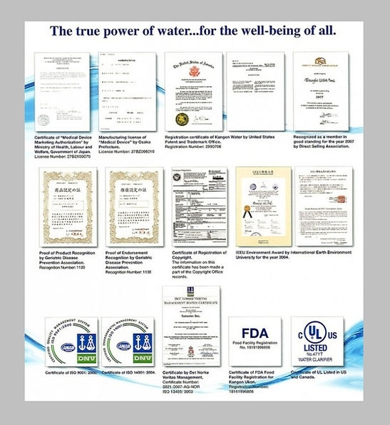 Enagic Certificat
