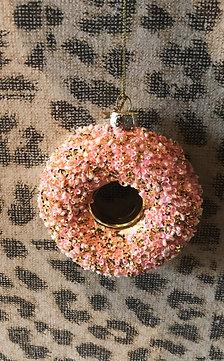 Kerstbal - Roze donut