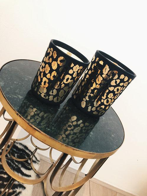 Leopard candle black/gold