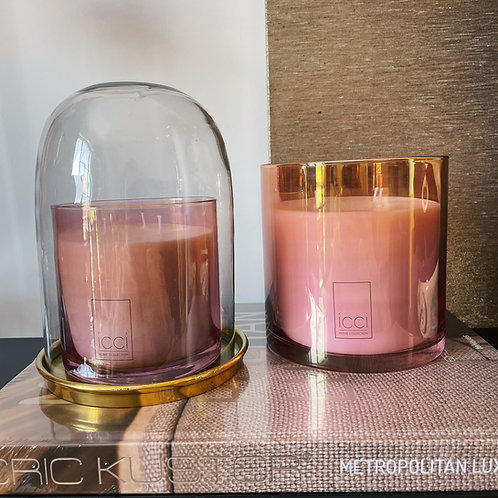 Pink scented candle