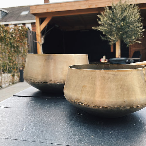 Set of 2 brass antique outdoor candle