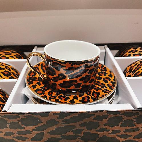 Leopard cappuccino set