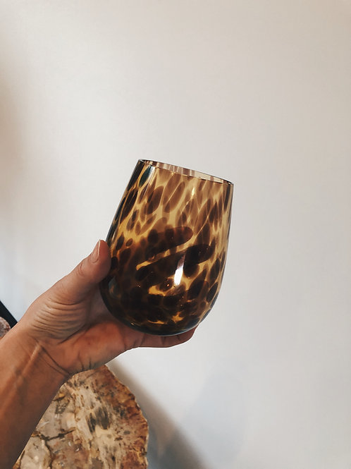 Leopard water glass