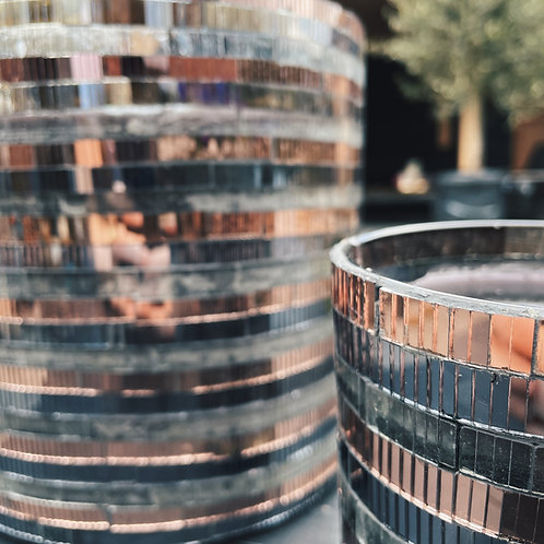 Outdoor candle glass mosaic