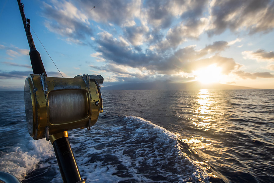 Deep Sea Fishing Reel on a boat during s