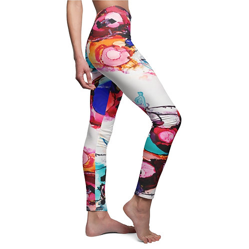 Women's Cut & Sew Casual Leggings with Original Alcohol Ink Painting Flowers