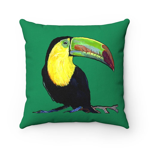 Spun Polyester Square Pillow with Original Painting of Toucan