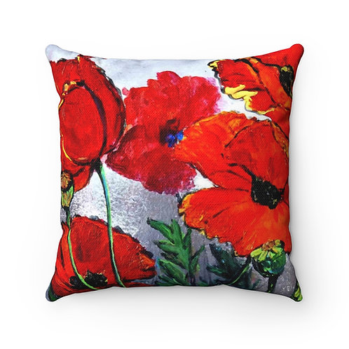Spun Polyester Square Pillow with Original Painting of Poppies