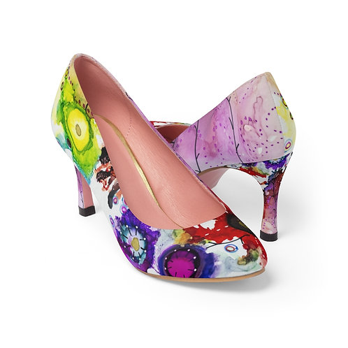 Women's High Heels with Original Alcohol Ink Painting of Funky Garden