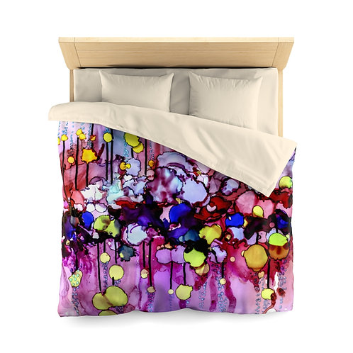 Microfiber Duvet Cover with Original Alcohol Ink Painting of Bubbles