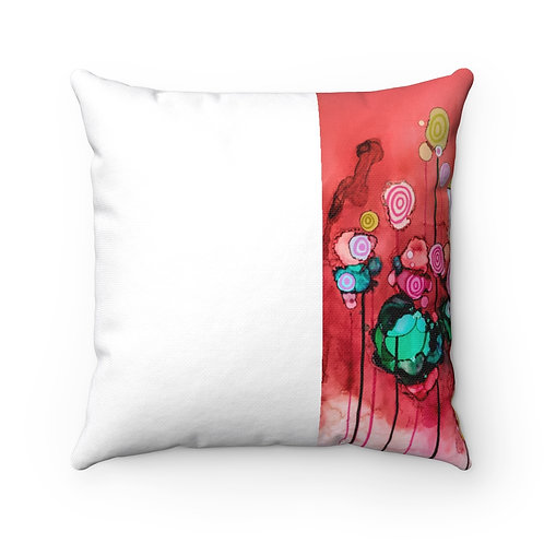 Spun Polyester Square Pillow with Original Alcohol Ink Painting of Lollipops