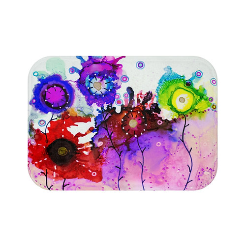 Bath Mat with Original Alcohol Ink Painting of Funky Garden