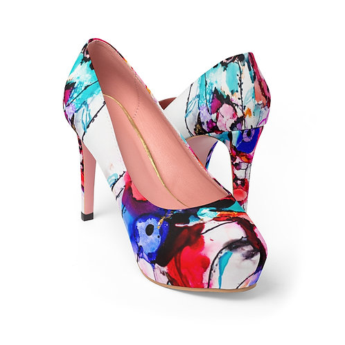 Women's Platform Heels with Original Alcohol Ink Painting of Funky Flowers