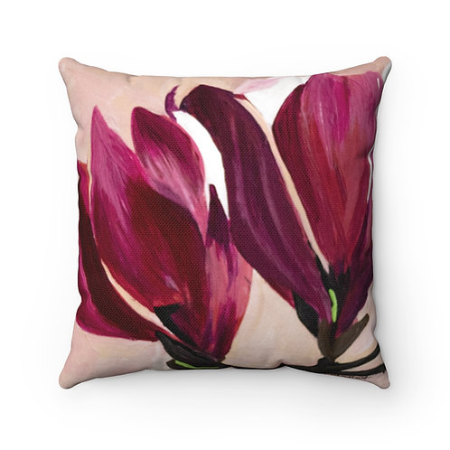Spun Polyester Square Pillow with Original Painting of Magnolias