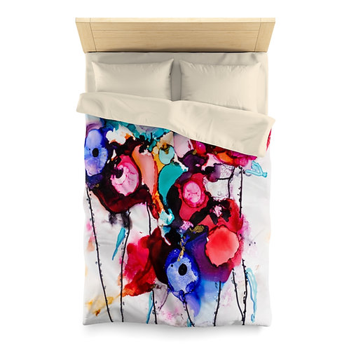 Microfiber Duvet Cover with Original Alcohol Ink Painting of Funky Flowers