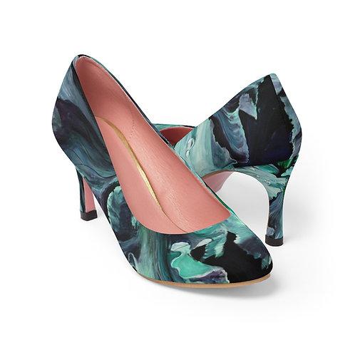 Women's High Heels with Original Painting of Teal Iris