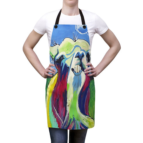 Apron with Original Painting of Chewing Llama