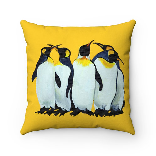 Spun Polyester Square Pillow with Original Painting of Penguins